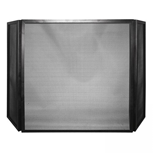 Lienbacher - Griglia di protezione per caminetto, in 3 parti, pieghevole, 60 x 101 cm, colore: nero