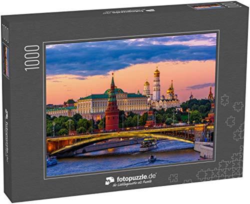 fotopuzzle.de Puzzle 1000 Teile Moskauer Kreml, Kremlufer und Moskauer Fluss bei Nacht in Moskau, Russland