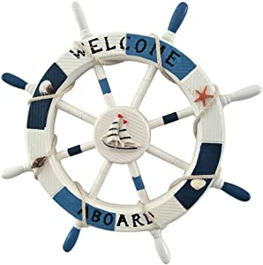 VOSAREA Steuerrad Holz Welcome Nautische Maritime Deko Schiff Lenkrad mit Muschel Seestern 45cm