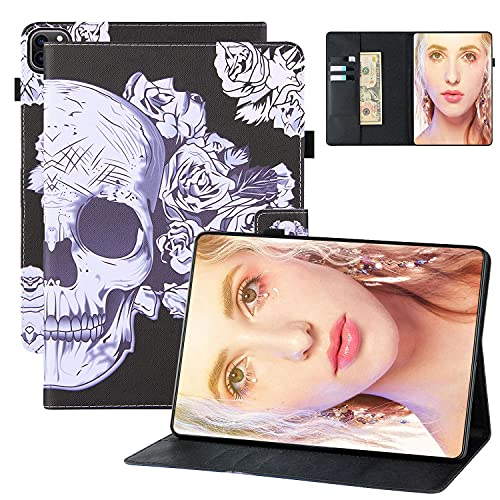 Sleeve Case for iPad Air 4 2020(10.9 inch), iPad Pro 11 2020/2018 Case, Coopts PU Leather Stand Folio Case with Pencil Holder Card Slots Smart Magnetic Case for iPad Air 10.9 2020/Pro 11', Rose Skull