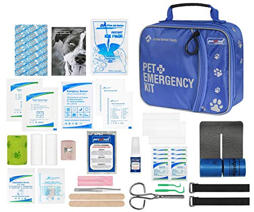 Perpetual Pet First Aid Kit with Vet Wrap, Styptic Powder, Bitter Spray & Veterinary Splint. Ideal for Hiking, Travelling, Camping, Outdoor & Indoor Activities