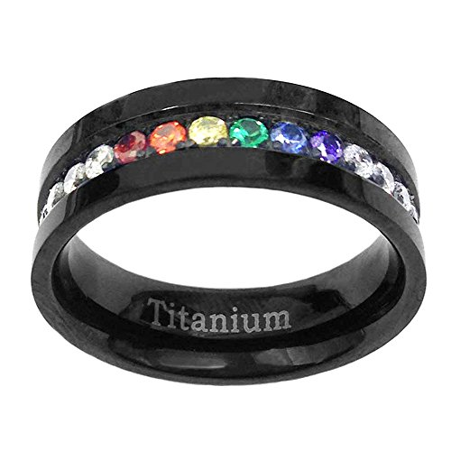 FlameReflection 6mm Black Titanium Gay Lesbian Engagement Ring Wedding Band Rainbow CZ Eternity Band Size 7 SPJ