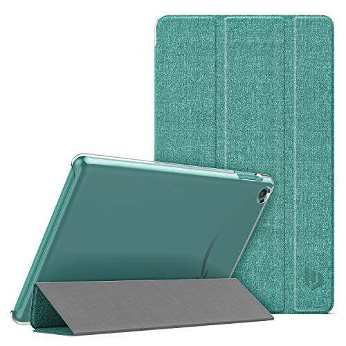 Dadanism Case Fit All-New Amazon Kindle Fire 7 Tablet (9th Generation, 2019 Release), Translucent PC Back Shell Ultra Slim Lightweight Trifold Stand Cover with Auto Sleep/Wake - Denim Sage