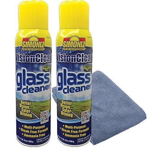Simoniz Vision Clear Glass Cleaner Streak Free (2-pack) 19oz + LARGE Microfiber Polish Cloth COMBO