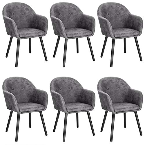 WOLTU Grey Kitchen Dining Chairs Set of 6 PCS Upholstered Counter Lounge Living Room Corner Chairs with Arms & Backrest Solid Wood Legs Reception Chairs Fabric Tub Chairs Armchairs