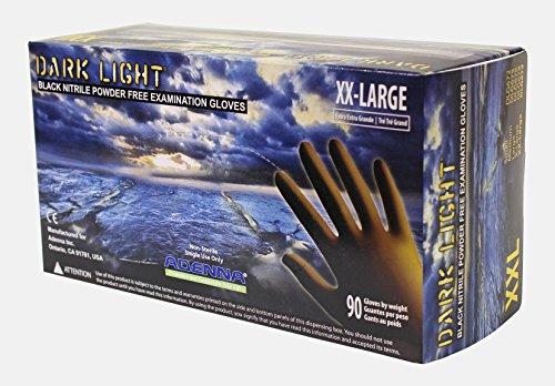 Adenna DLG679 Dark Light 9 mil Nitrile Powder Free Exam Gloves (Black, XX-Large) Box of 90 Pack of 10
