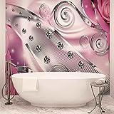 Rosa Blumen Diamant-abstrakte Moderne - Forwall - Fototapete - Tapete - Fotomural - Mural Wandbild - (2494WM) - XXL - 368cm x 254cm - Papier (KEIN VLIES) - 4 Pieces