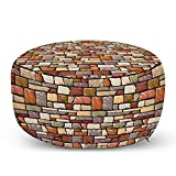 Ambesonne Grunge Ottoman Pouf, Cartoon Wall Pattern with Stone Motifs Construction Architecture Inspired Design, Decorative Soft Foot Rest with Removable Cover Living Room and Bedroom, Brown Beige