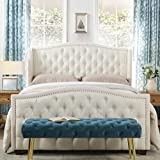 Jennifer Taylor Home Marcella Collection Queen Wingback Tufted Hand-Applied Nail Heads Upholstered Bed, Antique White