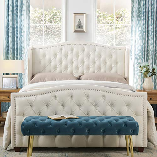 Jennifer Taylor Home Marcella Tufted Wingback Upholstered Bed - Queen (Antique White)