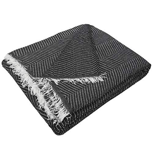 MERCURY TEXTIL- Colcha Multiusos Sofa,Manta Foulard,Plaid para Cama,Cubresofa Cubrecama,jarapas,Comoda Practica y Suave. Poliester Algodón (230 x 260cm, Espiga Negro Blanco)