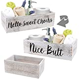 LotFancy Bathroom Decor Box 2 Pack, Hello Sweet Cheeks Nice Butt on 2 Sides, Wooden Back of Toilet Storage Basket, Toilet Paper Organizer for Home Décor