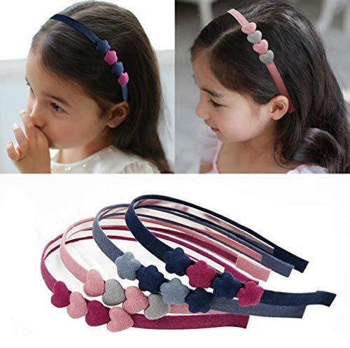 4 pezzi carino floreale a forma di cuore cerchietti antiscivolo fascia per capelli copricapi copricapo ornamento per capelli accessori per capelli per bambine colore casuale
