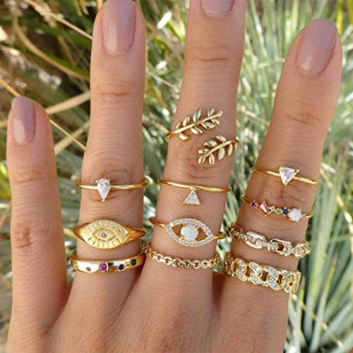 Yean Boho Crystal Ring Goud Blad Stapelen Ringen Set Knuckle Ring voor Vrouwen en Meisjes (11 St)