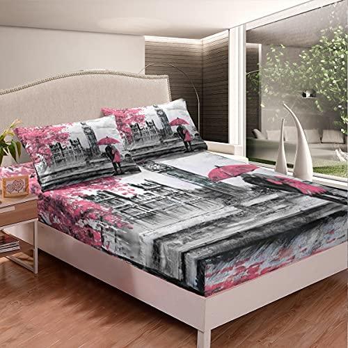 Homewish Big Ben - Juego de ropa de cama para niños, adolescentes, adultos, decoración de la ciudad, juego de cama de matrimonio, sábana bajera y funda de almohada, pintado a mano, color gris y blanco