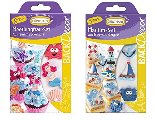 Günthart Dekoset Meer | Maritim-Meerjungfrau-Set | Zuckerdekor | Tortendeko | Muffindeko | Zuckerfiguren