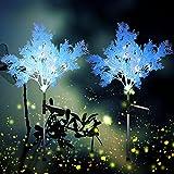 2 Piezas Luces Solares de Escarcha Luces Decorativas de Flor de Energía Solar de Jardín Luces Solares Impermeables de Estaca IP66 de Alta Resistencia, 27,5 Pulgadas de Altura (Azul)