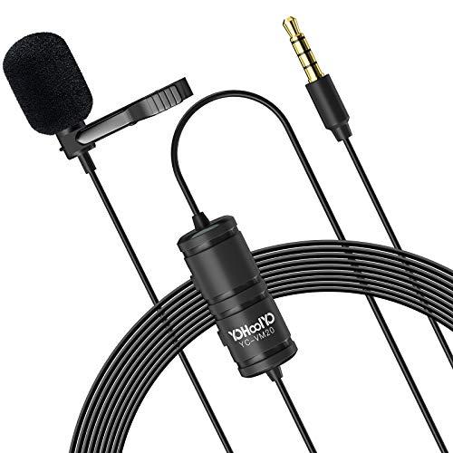 YOHOOLYO Lavalier-Mikrofon, Klappe, 6 m Audio-Verlängerungskabel, kompatibel mit DSLR-Kameras, Handys, Rekordern, Laptop etc.