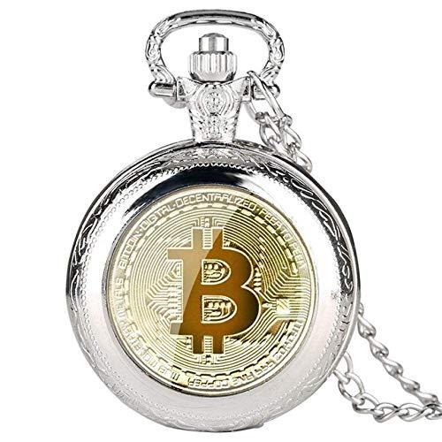 Reloj de Bolsillo Reloj de Bolsillo de Cuarzo Collar de Hombre Relojes Fob Casuales Reloj Masculino Regalos Relojes Negro/Plata