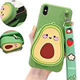 IPLUS 3D Cartoon Wallet Case for iPhone XR, Cute Fruit Mini Bag Design, Coin Purse Soft Silicone Case Cover with Stand & Long Shoulder Strap (Avocado, iPhone XR)