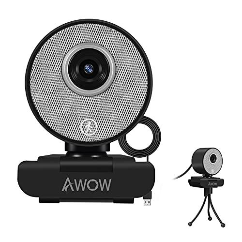AI Webcam 1080P -AI Gesichtserkennung Webcam, Webcam HD mit Automatischer Zoom, Webcam mit Lichtkorrektur, Plug & Play, für Win10, Mac OS X, Linux, für Videoanruf, Konferenz, Online-Unterricht, Spiel