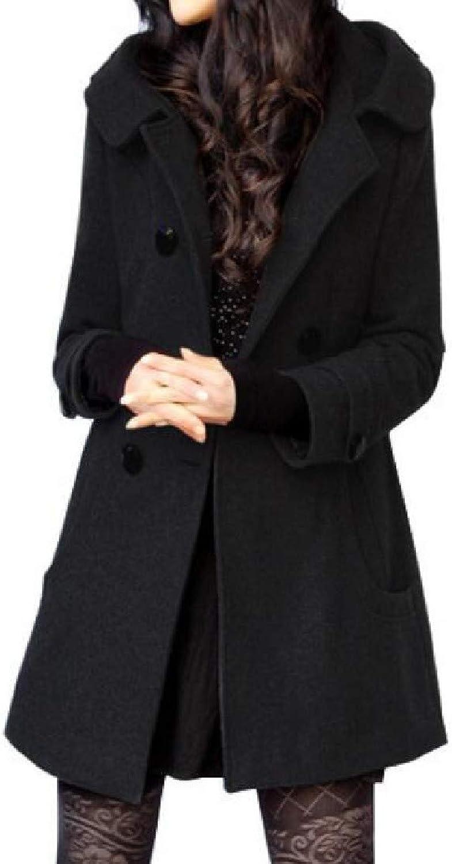 Etecredpow Women's DoubleBreasted Wool Blend Winter Hooded Thicken Overcoat Pea Coat