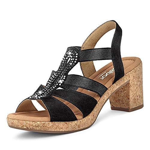 Gabor Comfort 22.774-47 Damen elegante Sandalette aus Veloursleder in Weite G, Groesse 37, schwarz