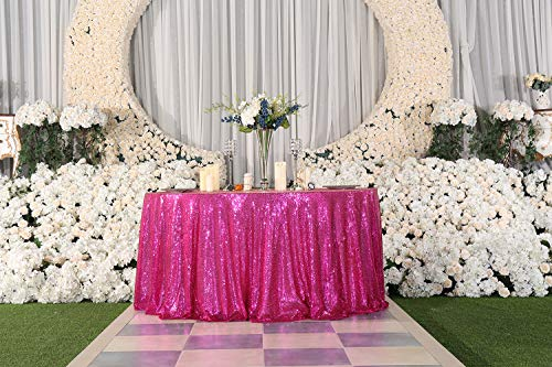 "PartyDelight 70"" inch Fuchsia Sequin Tablecloth Round Wedding, Party, Christmas Decor"