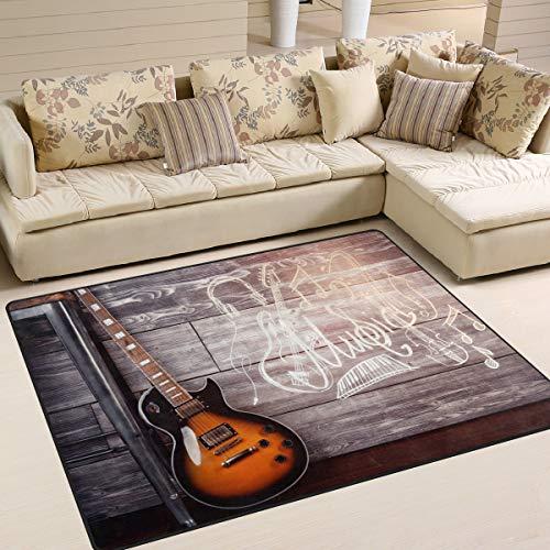 Use7 Tapis pour salon ou chambre à coucher Motif guitare 203 cm x 147,3 cm