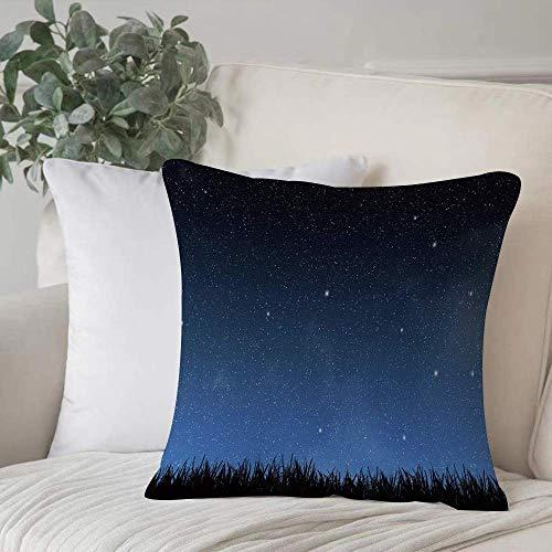 Funda de almohada, Funda de cojín Cielo nocturno, Parque Granja Jardín Hierba en la noche con puntos de nebulosa como estrellas Imprimir Decora Funda de cojín de decoración Cuadrado acogedor para sofá