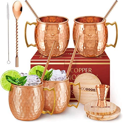 Gift Set Moscow Mule Mugs Set Of 4 16 oz Pure Solid Genuine HANDCRAFTED Copper Cups BONUS Straws product image