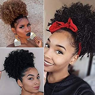 Afro Puff Drawstring Ponytail Synthetic Short Kinky Curly Wig Black Ponytail for Natural Hair Afro Buns Wrap Updo Hair Extension