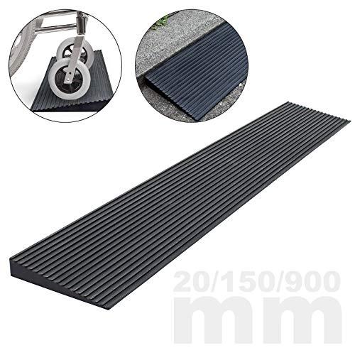 Türschwellenrampe 20x150x900mm für Rollstuhl & Rollator, Vollgummi, rutschfeste Oberfläche, kürzbar