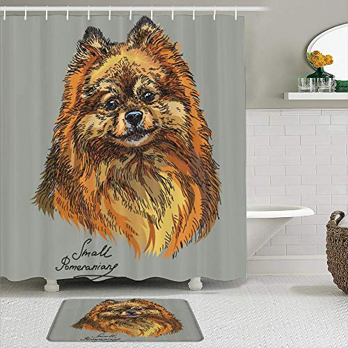 Fabric Shower Curtain and Mats Set,Pomeranian Hand Drawn Style Sketchy of a Purebred Domestic Puppy,Waterproof Bath Curtains with 12 Hooks,Non Slip Rugs