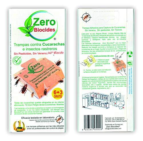 Zero Biocides 9 Trampas para Cucarachas con atrayente Incorporado Fabricadas en España