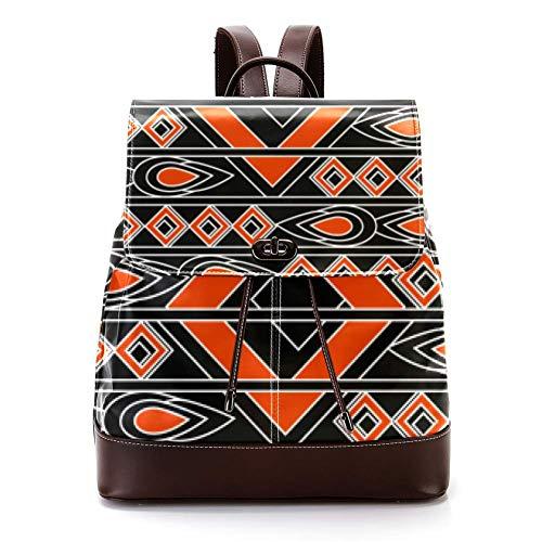 Casual PU Leather Zaino per gli Uomini, Donne Borsa a Tracolla Studenti Daypack per Viaggi Business College Water Drop Rhombus