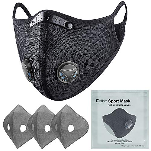 Colbiz Dust Mask Reusable with 3 Activated Carbon Filters Face Masks, Breathable Adjustable Sports Mask for Running Cycling Mowing Woodworking Outdoor Activities