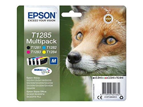 Epson Original–EPSON Stylus SX 125(T1285/c13t12854012)–Cartucho de tinta Multipack (Negro, Cian, Magenta, Amarillo)