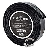 U.S. Pool Supply Black Rhino 2' x 100' Pool Backwash Hose with Hose Clamp - Extra Heavy Duty Superior Strength, Thick 1.2mm (47 mils) - Weather Burst Resistant - Drain Clean Swimming Pools and Filters