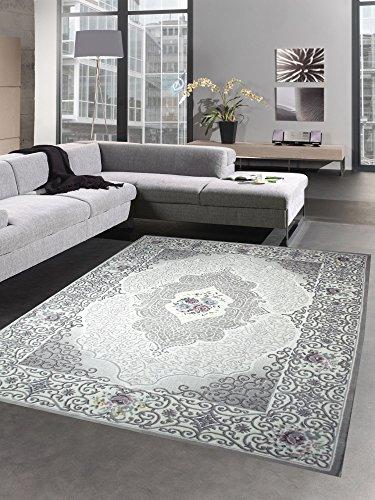 CARPETIA Salon Tapis Classique Oriental avec des Roses Gris Rose Größe 160x230 cm