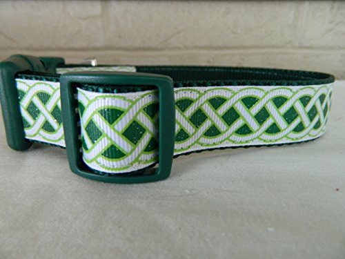 Schmoopsie Couture St Patricks Emerald and White Celtic Knots Dog Collar (Large (15'-24'))