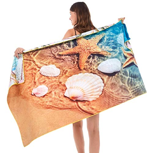 HAOKUN Microfiber Sand Free Beach Towel Blanket-Quick Fast Dry Super Absorbent Lightweight Thin Towel for Travel Pool Swimming Bath Camping Yoga Gym Sports Idea … (Starfish)