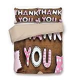 Soefipok Bettbezug-Set, Danke Dekor, romantische süße Keks Buchstaben Zuckerwatte auf rustikalen Holztisch Bild, rosa weiß braun, dekorative 3 Stück Bettwäsche Set von 2 Kissen Shams...