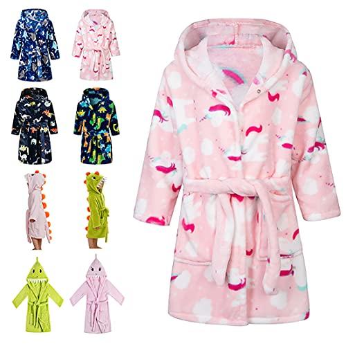 Lodunsyr Peignoirs de Bain Enfant Vêtements de Nuit Garçon Fille Peignoir Ultra Doux et Léger Serviette de Bain Capuche 2-9 Ans