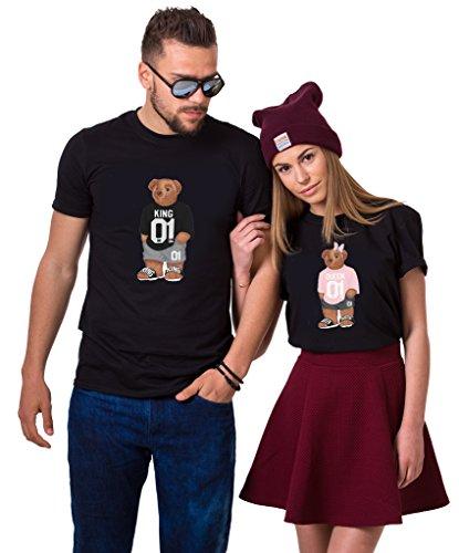 King Queen T-Shirt Bär Pärchen Couple T Shirts Partner Geschenke für Paar Partnerlook Tshirts Set Valentinstag 1 Stück