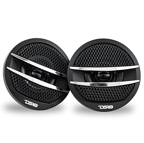 DS18 TX1S Tweeter X1 1.38-inch 200 Watts Max Pei Dome Ferrite Tweeters with Mounting Kit Angle, Flush, Surface - Set of 2 (Black/Silver)