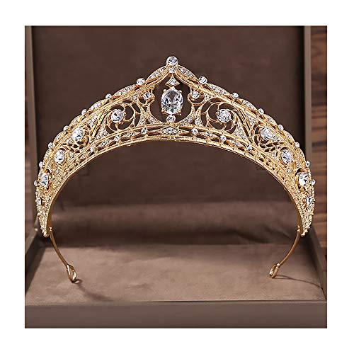 AMY-XCQ Couronne, Mariée Princesse Royale Mariage Bandeau Anniversaire Cadeau Adulte Zirconium Pierre Décoration Reine De Bal Performance Fête Cadeau,d'or