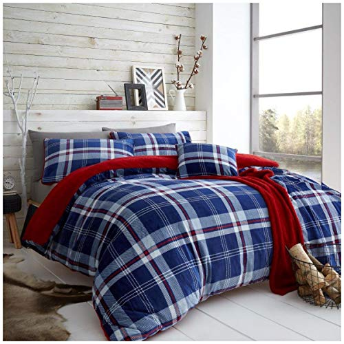 Easy Care Teddy Tartan Lincoln Check Duvet Cover with Pillow Cases, Fleece & Warm Quilt Set, King Size Bedding, Navy/Red
