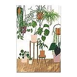 U/N Moda niña Plantas Hojas ilustración Pared Arte Lienzo Pintura Carteles nórdicos e Impresiones Cuadro de Pared para Sala de Estar-5