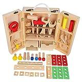 IMIKEYA Banco de Trabajo de Madera Juguetes Montessori Tablero de Destornillador Juego de Clasificador de Tornillos para Niños Habilidades de Juego de Ingeniería Juguetes Educativos de
